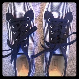 Loft canvas sneakers, blue and white striped